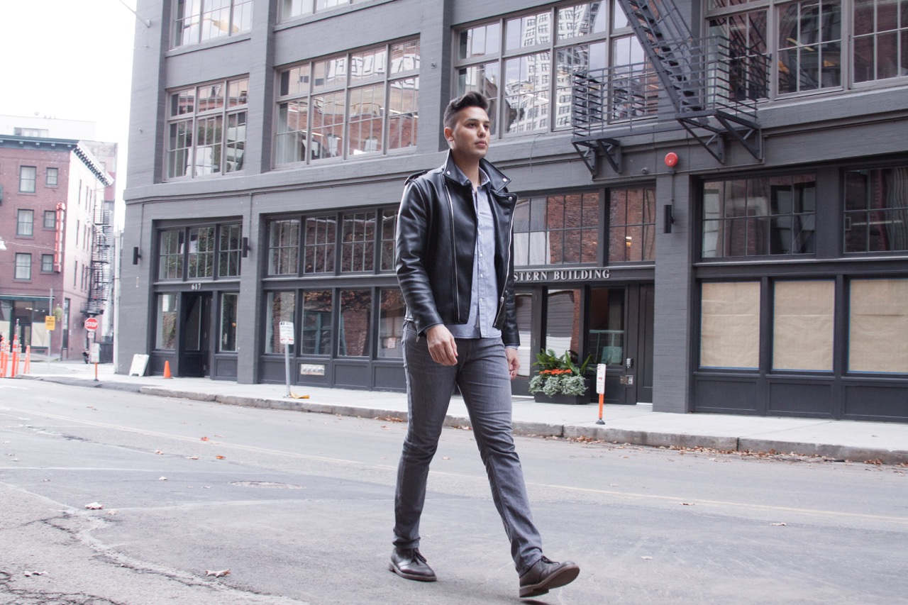 Andrew Hoge Black Leather Jacket and Grey Pants